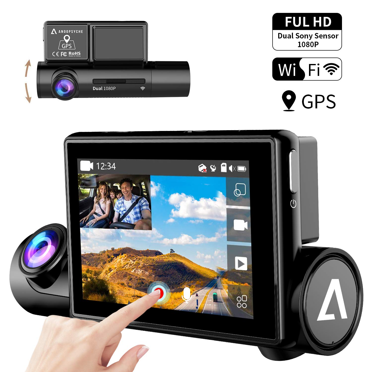 Dash Cam 3.0'' OLED Touch Screen Dual 1080P FHD Front and Inside Dash Camera for Cars-Wifi GPS Car Driving Recorder with Sony Night Vision Sensor 170° Wide Angle WDR G-Sensor Parking Monitor Anoopsyche by Anoopsyche