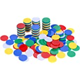 Willbond 200 Pieces Counters Counting Chips Plastic Markers 22 mm Mixed Colors for Bingo Chips Game Tokens with Storage Box