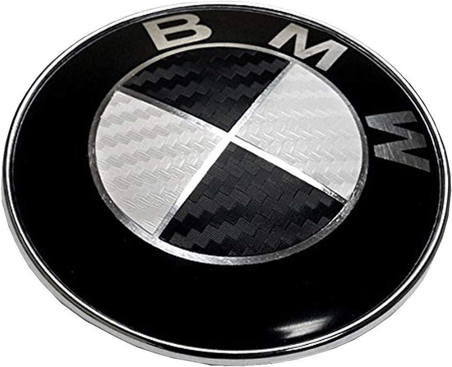 Kohlefaser Schwarz YEOOL 82mm und 74mm Emblem Embleme Haube Logo Badge Ersatz f/ür B M W Motorhaube und Kofferraum Vorne Hinten Plakette E46 E90 E90 LCI