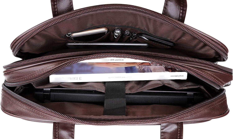 BOLO ARES Leather Laptop Briefcase Large /& Expandable Shoulder Bag Business Handbag Messenger Bag BC4-Black