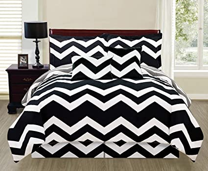 Amazon Com 6 Piece Black White Grey Reversible Queen Chevron