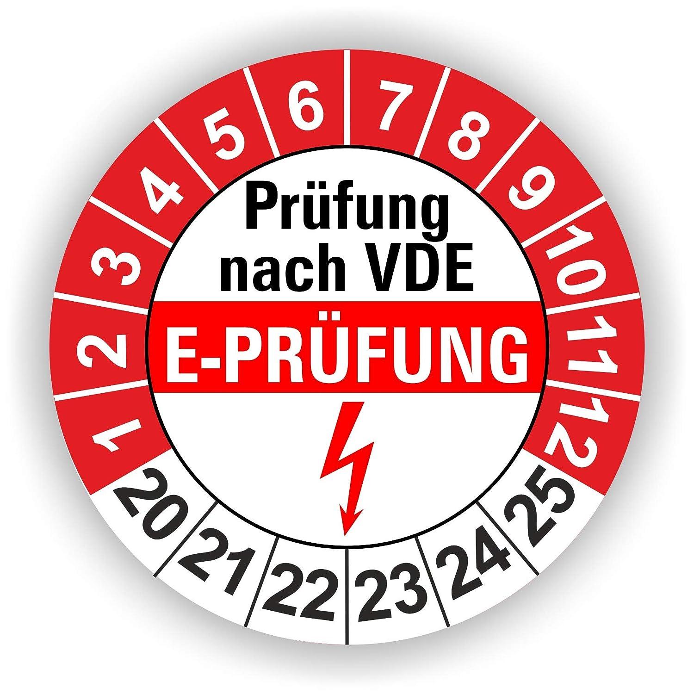 5-1.000 St/ück Pr/üfplaketten Pr/üfetiketten Wartungsetiketten E Gr/ün 250 St/ück Pr/üfung /Ø 30mm