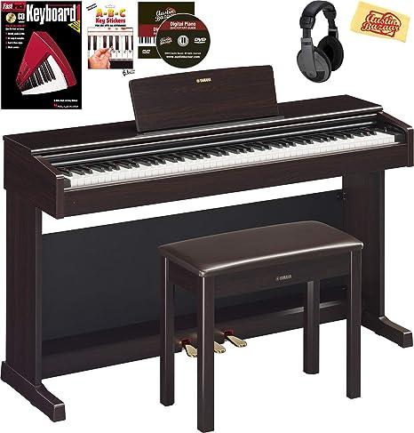Yamaha YDP-144 Arius Piano digital - Paquete de palisandro con banco de muebles, auriculares, pegatinas de teclado, libro de instrucciones, DVD de ...