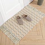 Cotton Woven Tassels Rug | Geometric Diamond Tribal Chindi Throw Rug | Reversible Boho Laundry Rug | 2'x3' Small Rug for…
