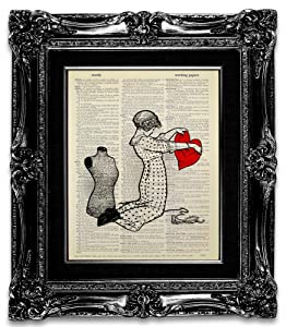 Sewing Love, Recycled Vintage Dictionary Art Print Printed on Upcycled Paper Page 8x10 Unframed, Mixed Media Poster Artwork, Funny Great Gift for Sewing Lover, Victorian Style Living Room Decor