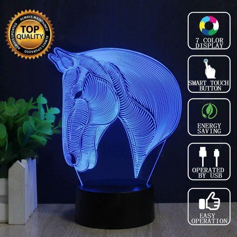 Caballo 3d Lámpara LED óptico Engaños Luz Nocturna, 7 Cambio de Color Con Acrílico Flat & ABS Base & USB Cargador de Cambiar Toca Lámpara de Escritorio Lámpara de Mesa