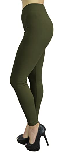 6307eef4c5f67 Belle Donne Womens Leggings Workout Yoga Solid Color High Waist by Army  Green