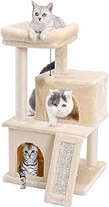 Eono by Amazon Árboles para Gatos rasguña los Postes de sisal Natural con Bola de Juguetes para Dormir de Nido Beige: Amazon.es: Productos para mascotas