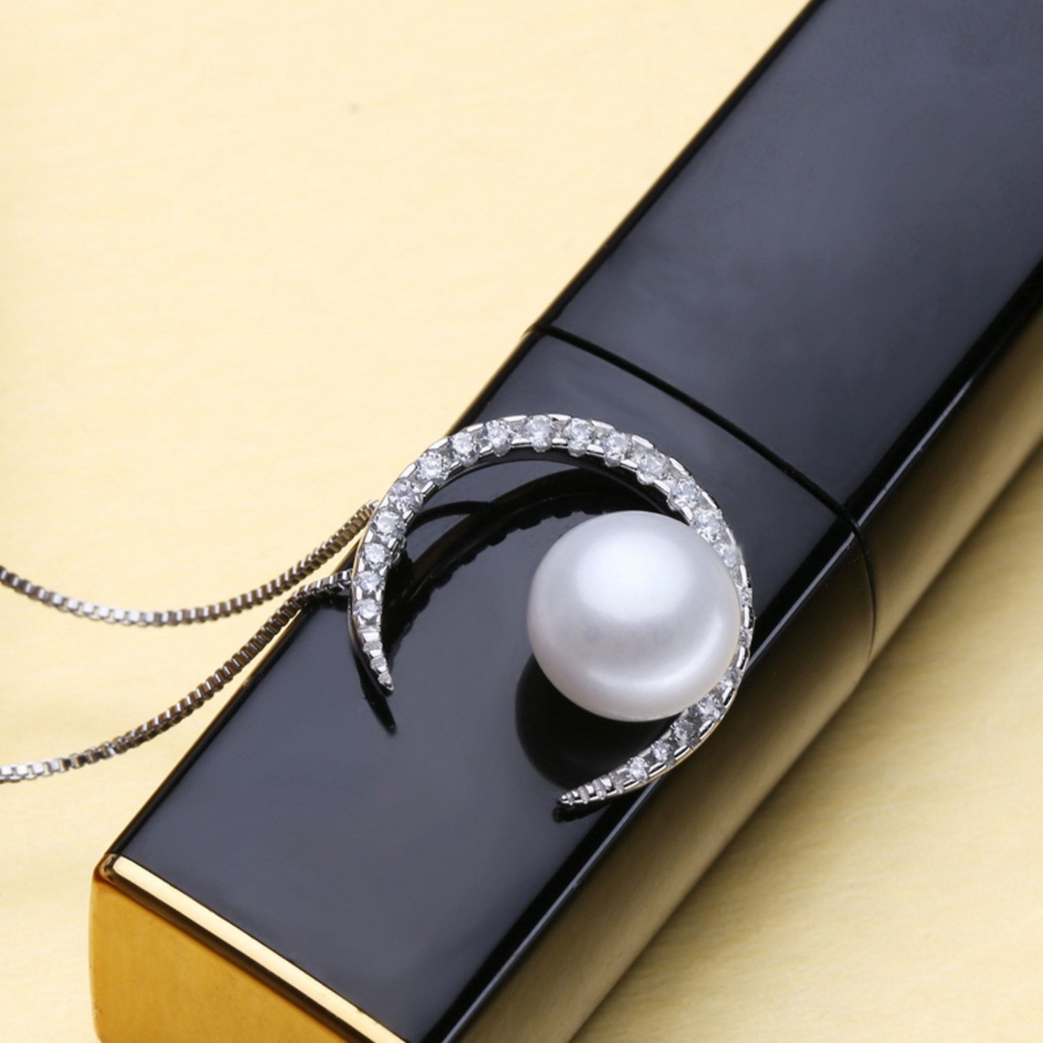 CS-DB Jewelry Silver Pearl Black White Chain Charm Pendants Necklaces