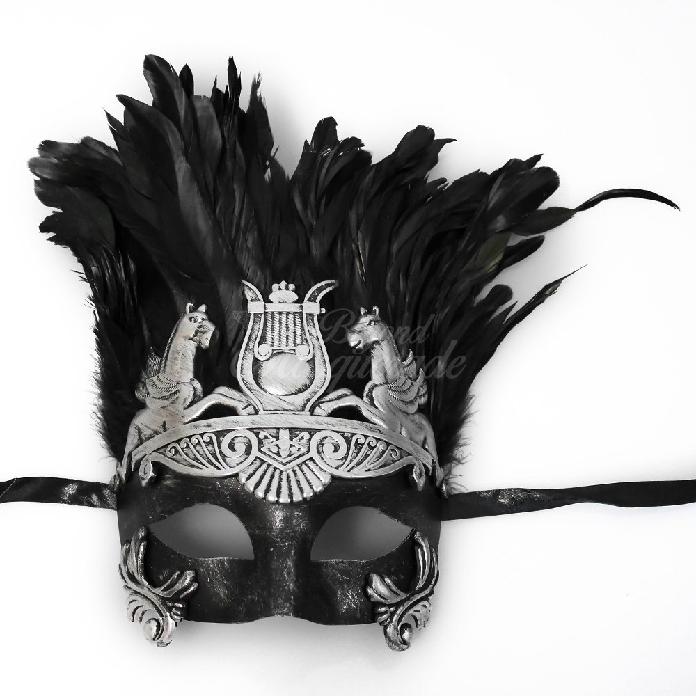 Mens Roman Silver Masquerade Mask with Feathers