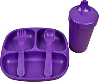 product image for Re-Play Made in The USA Toddler Diner Set   Divided Plate, No Spill Sippy Cup, Utensil Set   Eco Friendly Heavyweight Recycled Milk Jugs - Virtually Indestructible   Amethyst
