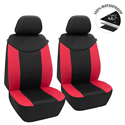 Elantrip Waterproof Neoprene Red Front Seat Covers Car Bucket Seat Cover Universal Fit Airbag Compatible for Auto SUV Truck Van 2 PC: Automotive