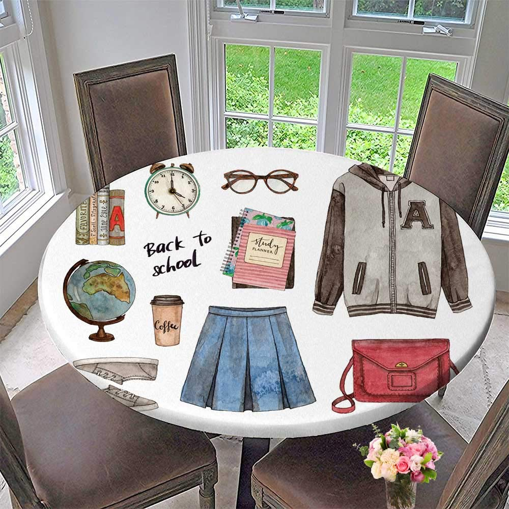 PINAFORE HOME Round Tablecloths Back to School Painted Fashion of Clothes Accessories and Stationery or Everyday Dinner, Parties 63''-67'' Round (Elastic Edge)