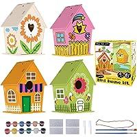 "Cualfec DIY Bird House Kit for Kids Bird House to Paint Build and Paint Your Own Bird House 5""x7"" Big Size Full DIY Kit…"