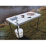 BBQ-Expert Table de camping avec évier 115x 60cm, table de cuisine haute pour le camping ou le barbecue