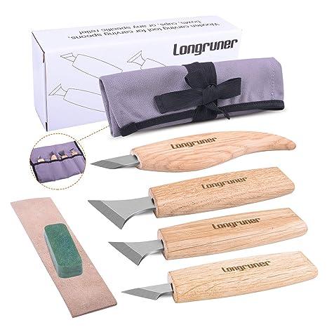 Longruner Wood Carving Tools Set Knife Madera Tallando Las Herramientas del kit del sistema de cuchillos 7-en-1 geométricas Woodcarving Cuchillos con ...