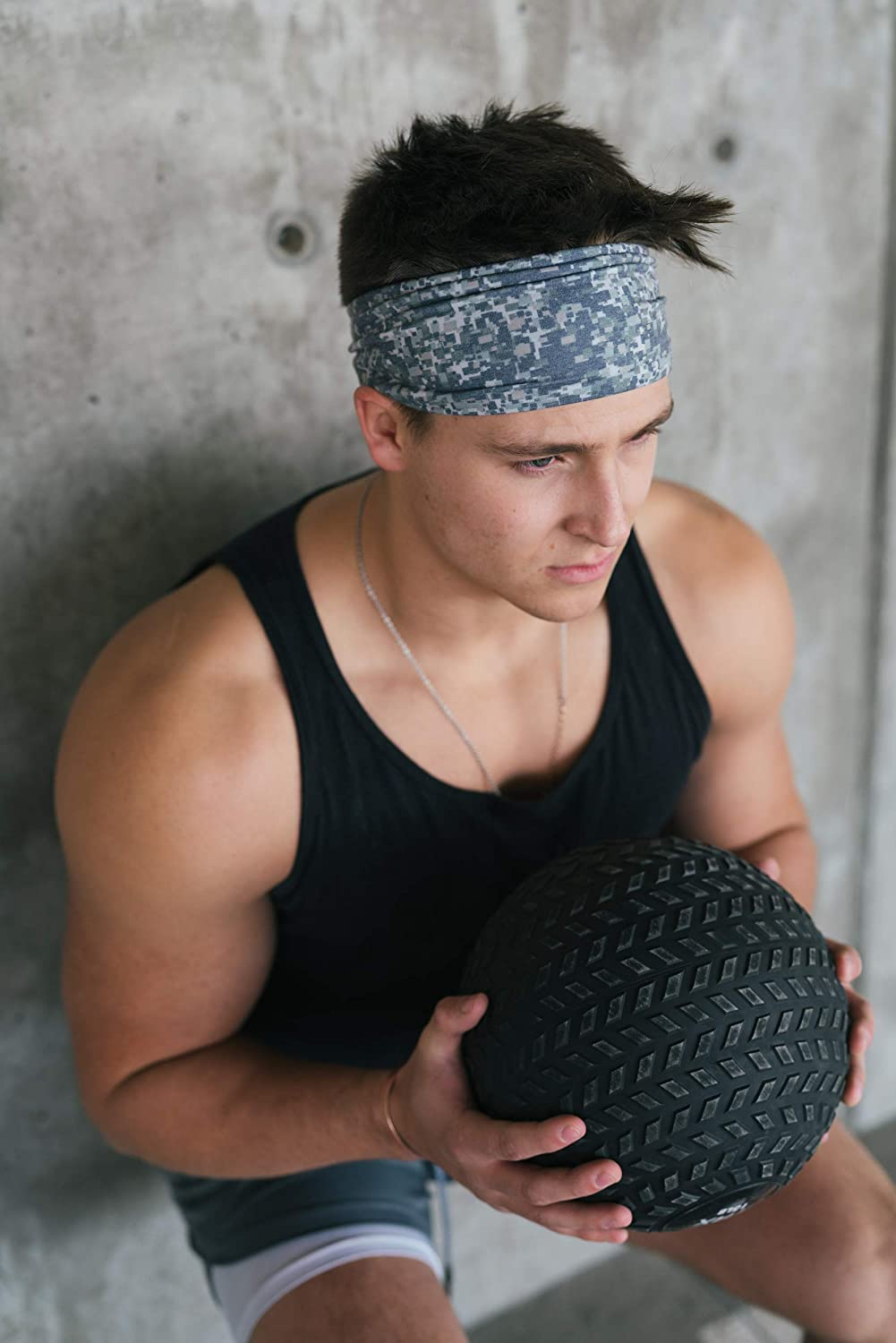 Maven Thread Mens Headband Yoga Running Exercise Sports Workout Athletic Gym Wide Sweat Wicking Stretchy No Slip 2 Pack Set Green Pixel Camo and Black Solid Pixel Camo