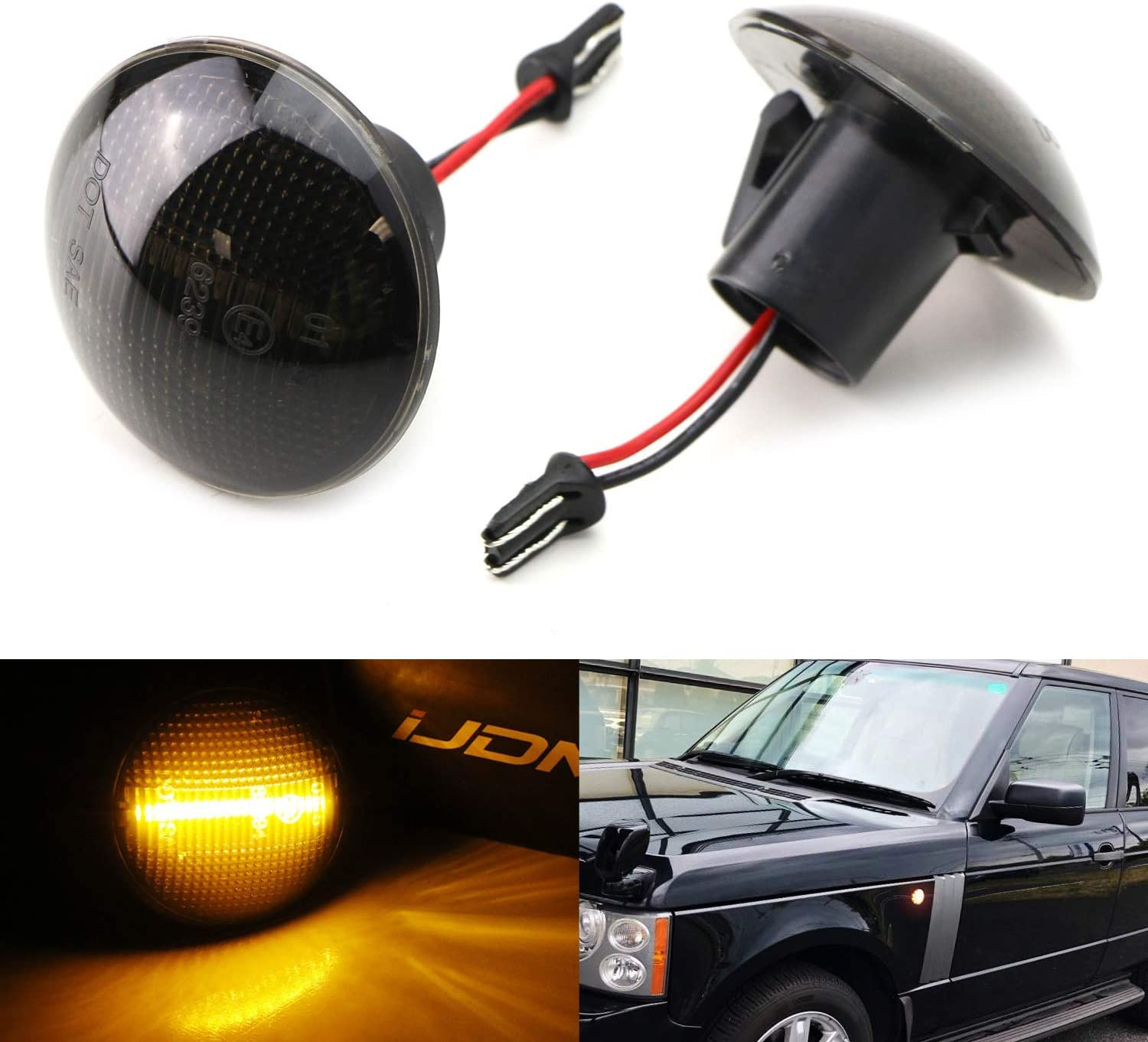 iJDMTOY Smoked Lens Amber Full LED Front Side Marker Light Kit Compatible With 2003-2012 Land Rover Range Rover L322, Powered by 18-SMD LED, Replace OEM Clear Sidemarker Lamps