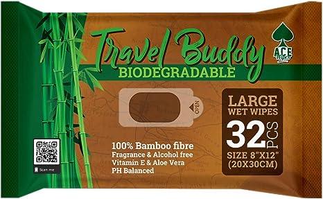 Ace Wipes Travel Buddy - Toallitas húmedas de bambú, Grandes y ...
