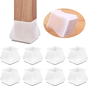 LIIBOT 8Pcs Silicone Furniture Foot Protector Cover with Felt Base,Chair Legs Bench Sliders Pads Felt Bottom Soft Covers,Stool Leg Pad Table Feet Rubber Caps,Prevent Scratch Floor (White Square)