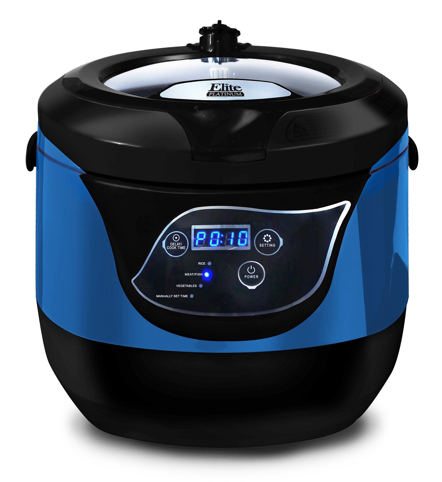 Elite Platinum EPCM-55BL Maxi-Matic 5.5 Quart Electric Digital Low Pressure Cooker, Blue