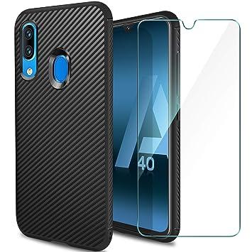 ivencase Funda Samsung Galaxy A40 Silicona & Protector Pantalla Cristal Templado, Carcasa Samsung A40 Slim Suave TPU Bumper Anti-arañazos Antigolpes ...