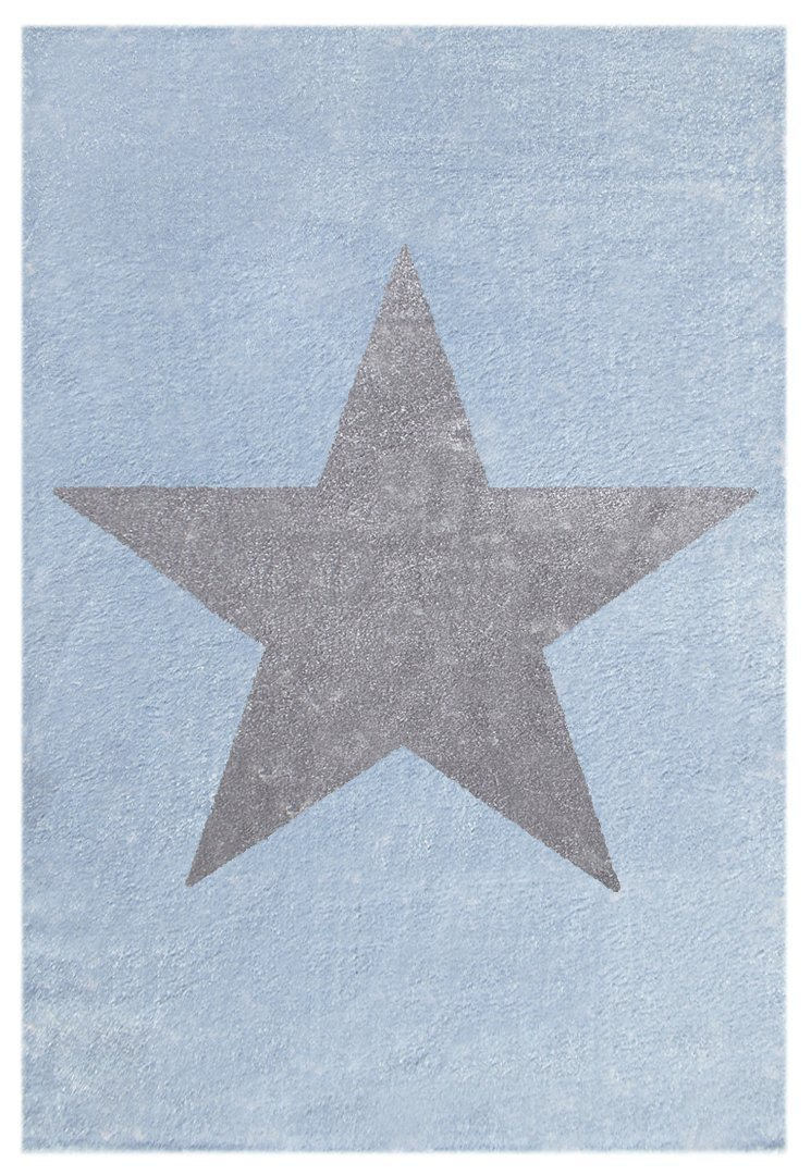 Livone Kinderteppich Happy Rugs Star blaugrau Silbergrau 160x230 cm