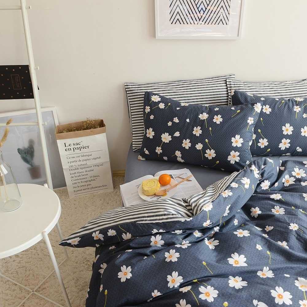 "VClife 3 Pieces Bedding Sets (104"" x 90"") 100% Cotton Floral Print Duvet Cover Sets for Bedroom_King"