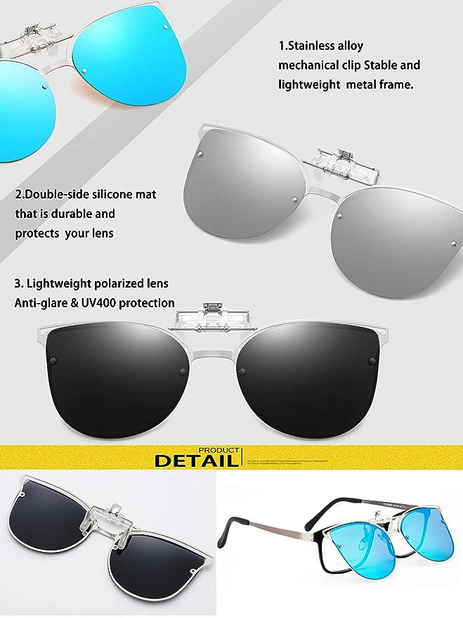Amazon.com: Gafas de sol con clip para mujer con lentes ...