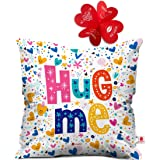 Indigifts Hug Me Quote Randomize Love Symbols Printed Micro Satin Hug Me Cushion Cover (16x16-inches, White)