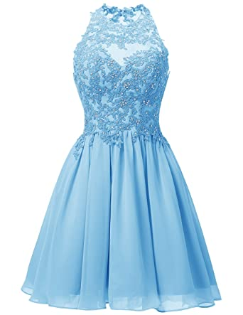 Dresstells reg; Short Chiffon Halter Neck Prom Dress with Appliques Homecoming Dress