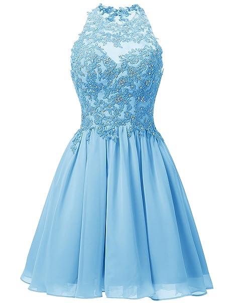 Dresstells reg;Vestido De Fiesta Corto Halter De Gasa Encaje Para Cóctel Azul 54W