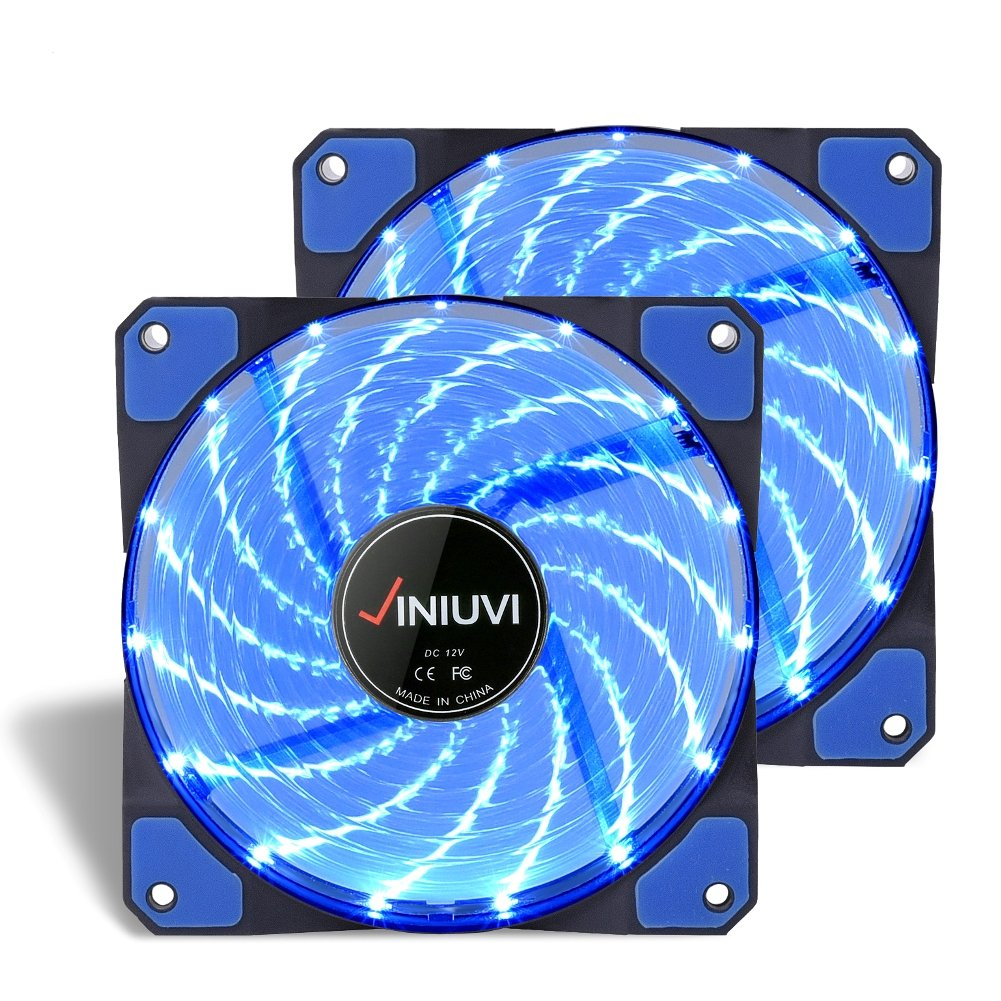 2 Pack Blue 120mm Case Fan Cooling PC and Light Up Computer Case with Cool Look, Long Life Bearing with DC 15 LED Illuminating PC Case. Quiet Durable Fans Enhance Performance of Tower by VINIUVI