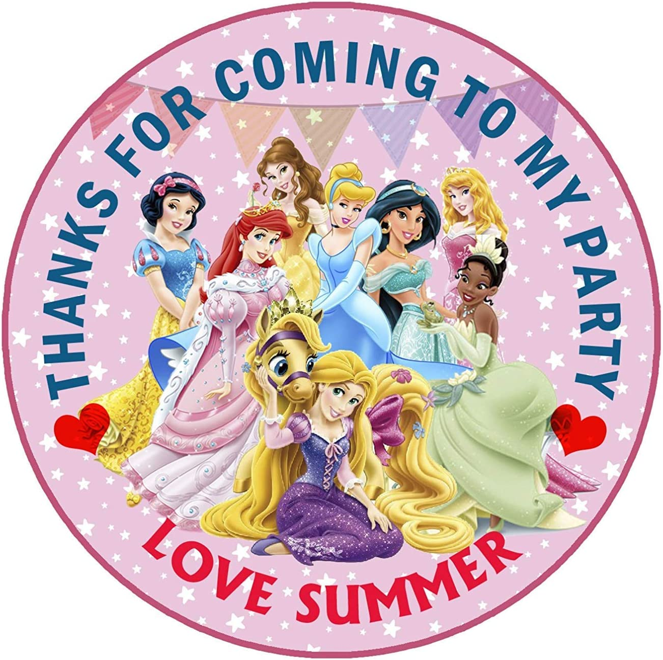Personalised Disney Princess inspired labels stickers 4 Party Bags sweet cones