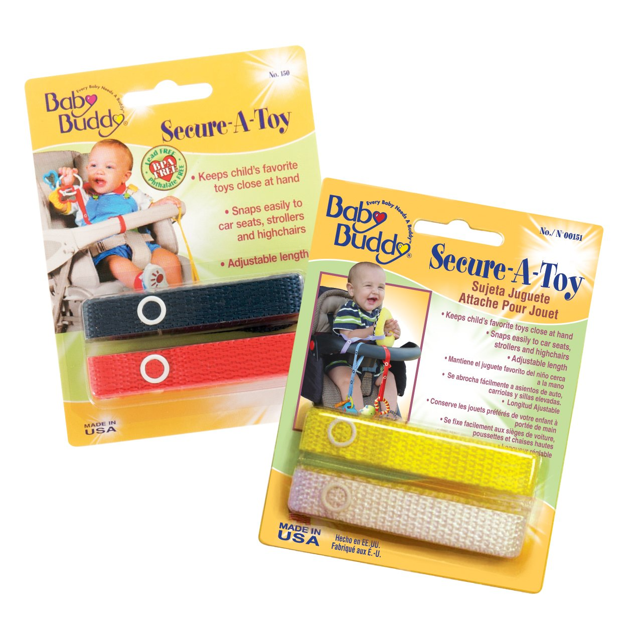 Baby Buddy Secure-A-Toy straps 4ct for 6-36 months (Multicoloured) Compac Industries 04154-NRYW