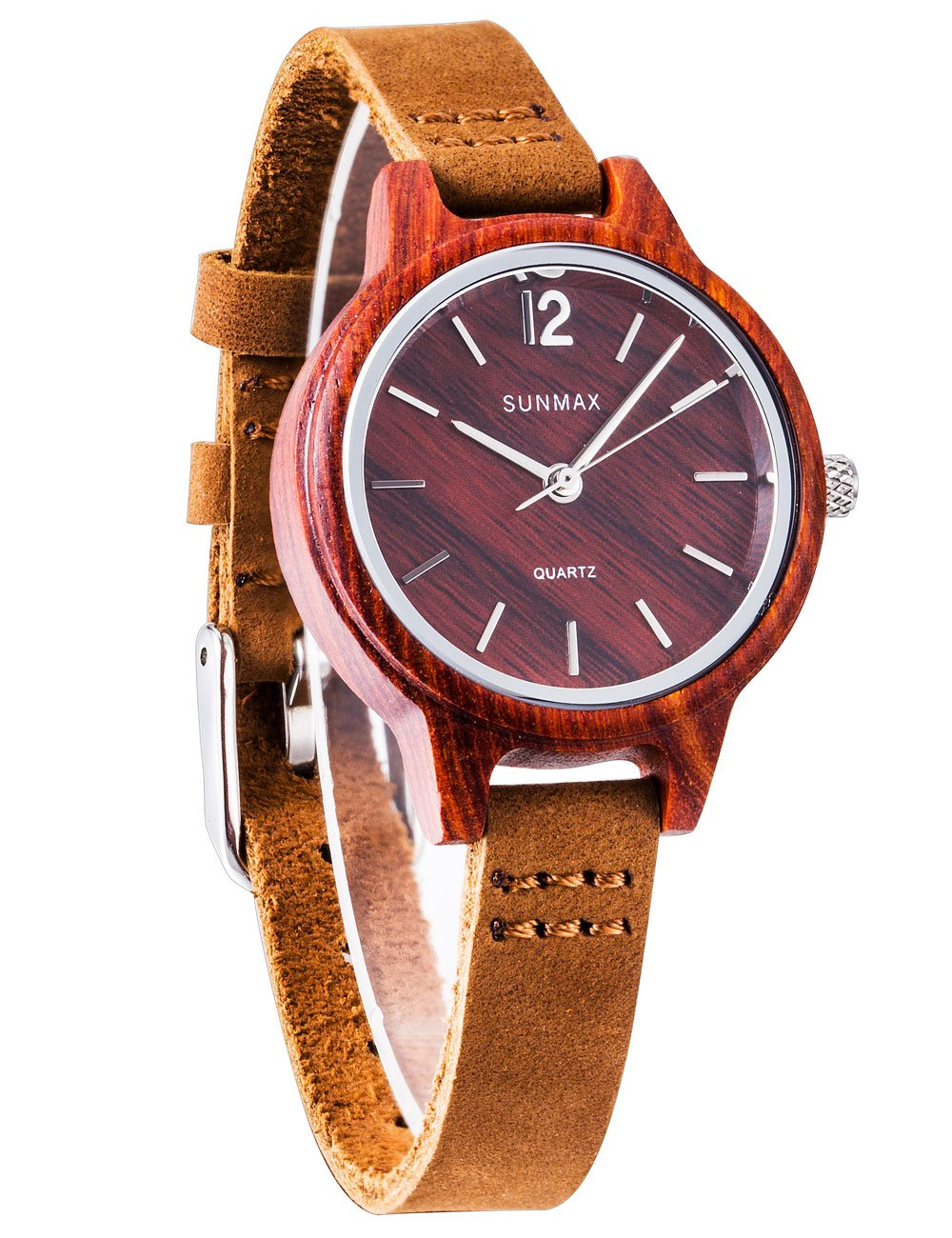 SUNMAX Watches for Women Wooden Wrist Red Tanwood Serie Dial 30mm Leather Strap Wood Bezel Analog Quartz Movement-Bamboo Watch Box Wood Watches for Women Red with Date Waterproof Glasses Leather Ban