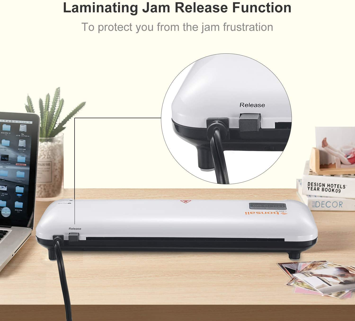 Paper Trimmer Bonsaii Thermal Laminator Machine 9.5-Inch Laminating Wide for Document//Photo//Card Hot /& Cold Laminators for Office//Home//School with 25 Laminating Pouches L409 4 in1 Renewed Corner Rounder