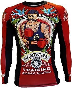 Hardcore Training Old Tattoo 2.0 Rash Guard Mens Camisa de Compresión Hombre MMA BJJ Boxeo Fitness Grappling No Gi: Amazon.es: Deportes y aire libre