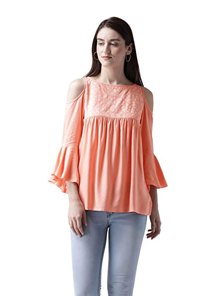 cef7387b491 MsFQ Women's Peach Printed Cold Shoulder top by The Vanca: Amazon.in:  Clothing & Accessories