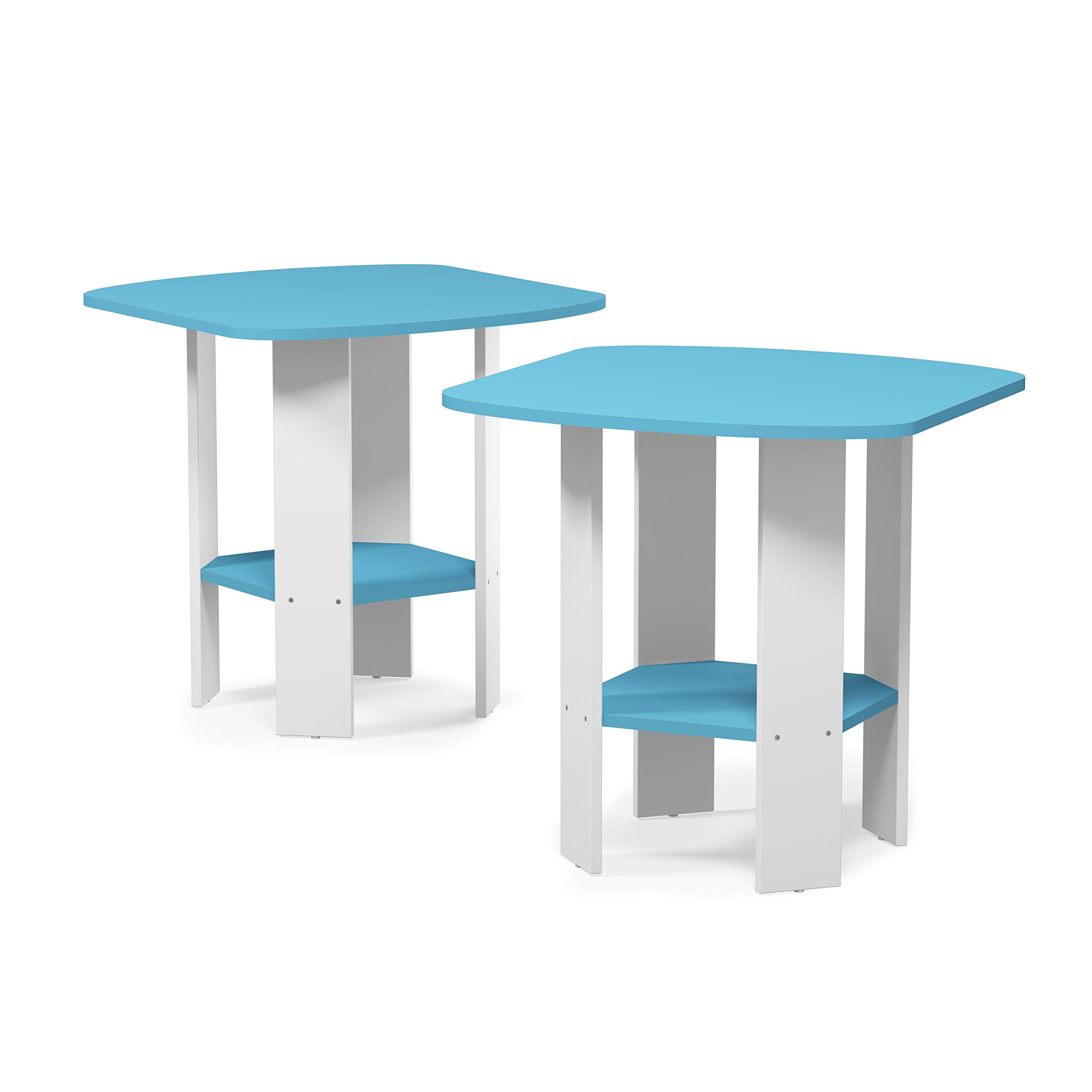 FURINNO Simple Design 2-Pack End Side Table, Light Blue/White by Furinno