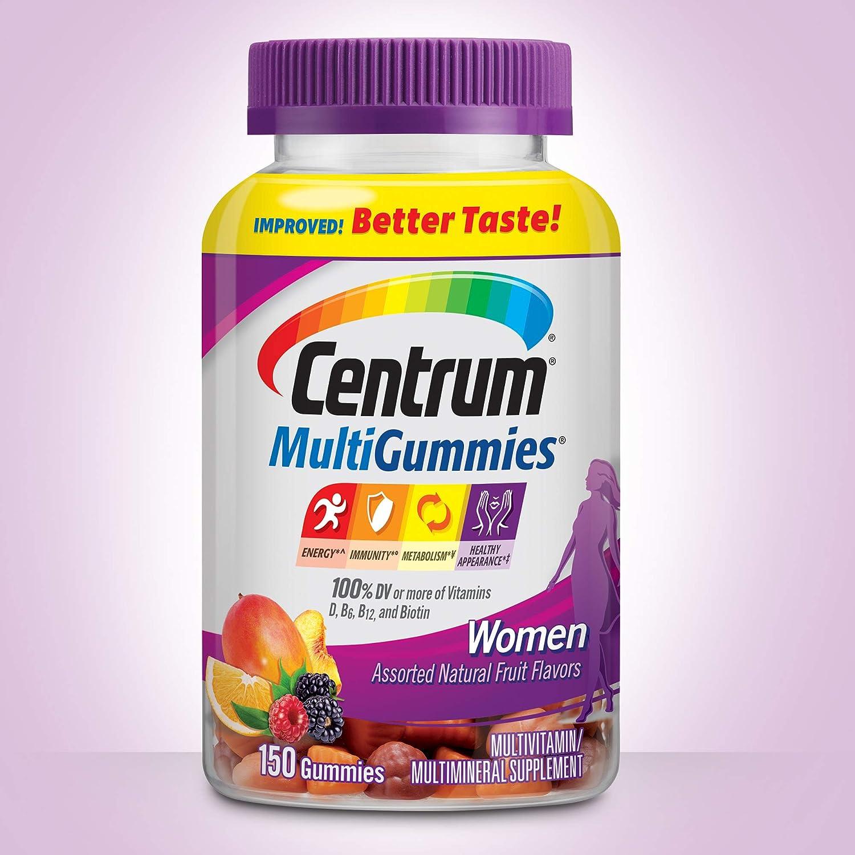 Centrum MultiGummies Women (150 Count) Improved! Better Taste! Gluten-Free Multivitamin/ Multimineral Supplement Gummies