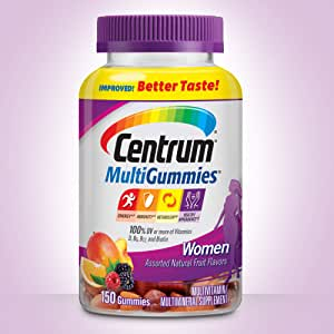 Centrum MultiGummies Women (150 Count) Improved! Better Taste! Gluten-Free Multivitamin/Multimineral Supplement Gummies