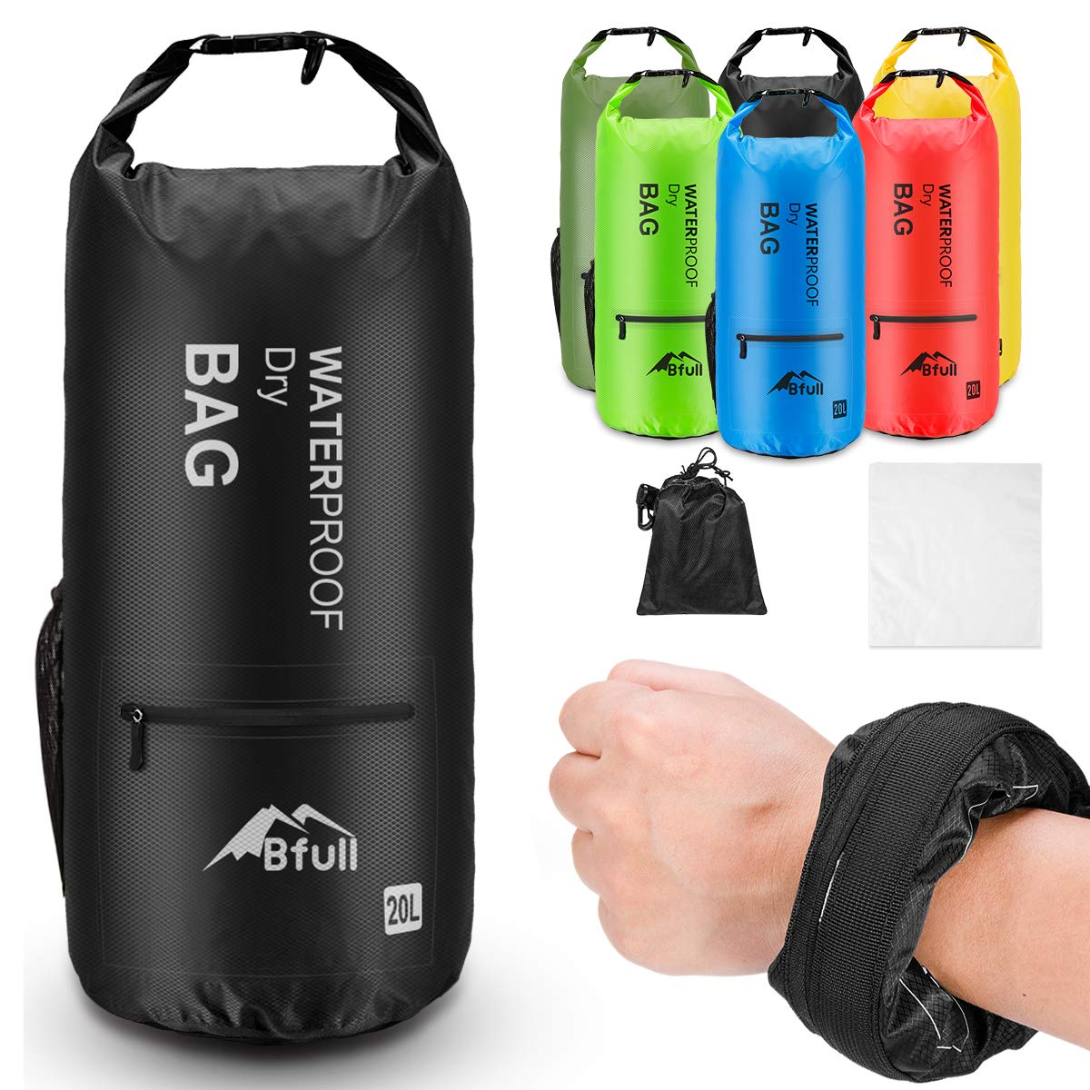 BFULL Waterproof Dry Bag 5L/10L/20L/30L/40L [Lightweight Compact] Roll Top Water Proof Backpack with 2 Exterior Zip Pocket for Kayaking, Boating, Duffle, Camping, Floating, Rafting, Fishing (Black) by BFULL