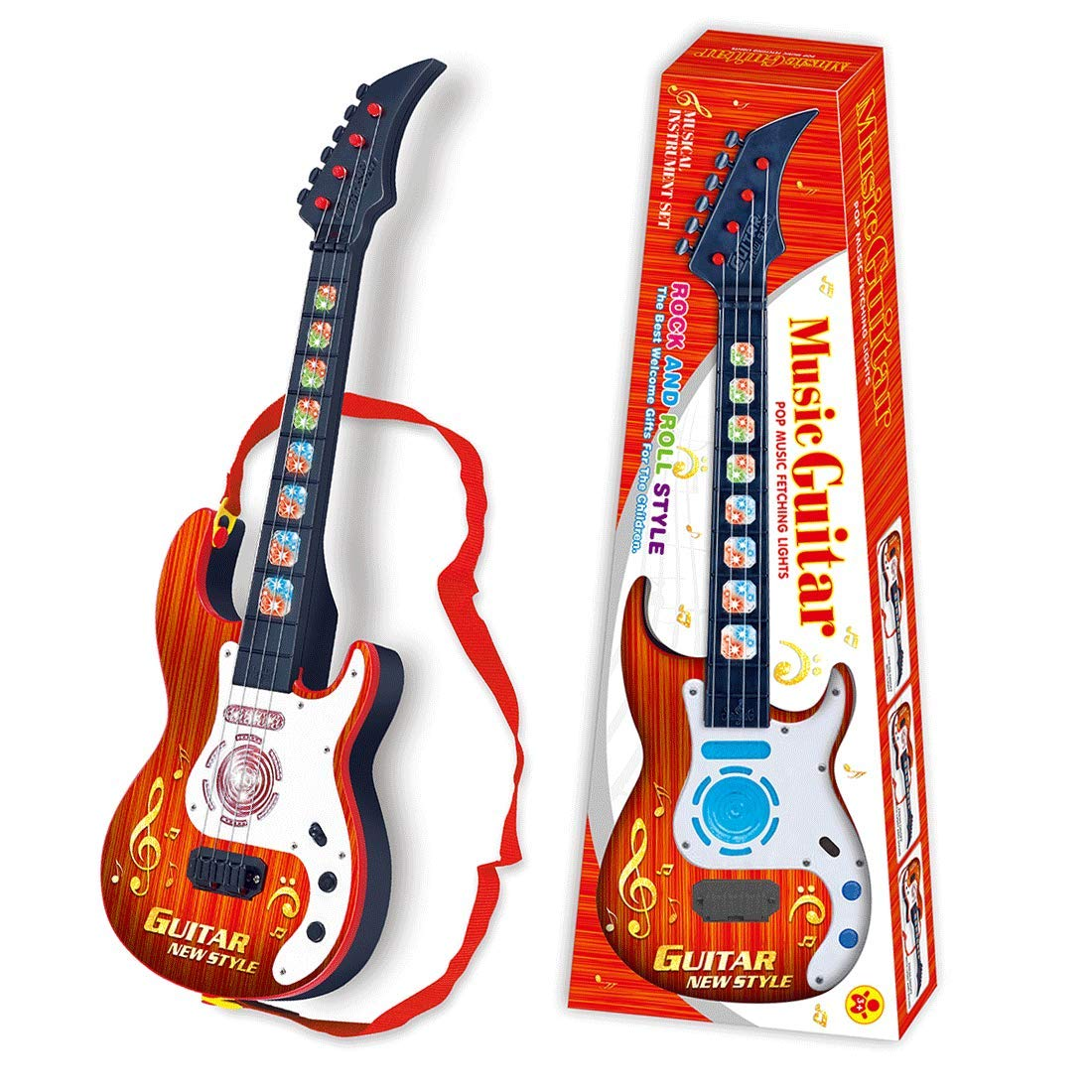 PeleusTech® 21inch 4 Strings Electric Guitar Rock Star Musical Instruments Educational Toy for Kids, Children, Boys and Girls - (Type A)