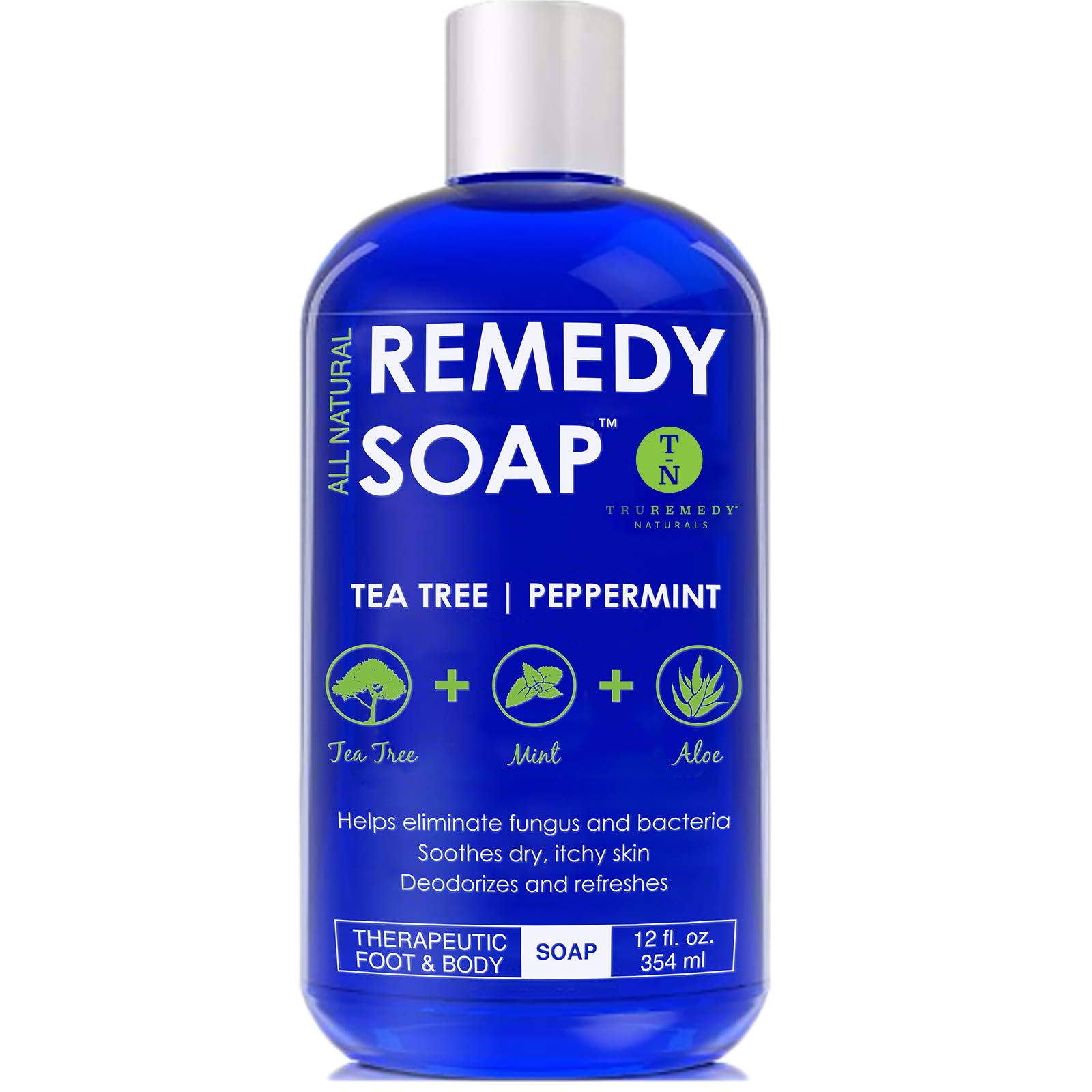 Remedy Antifungal Soap, Helps Wash Away Body Odor, Athlete's Foot, Nail Fungus, Ringworm, Jock Itch, Yeast Infections and Skin Irritations. 100% Natural with Tea Tree Oil, Mint & Aloe 12 oz by Remedy Wash