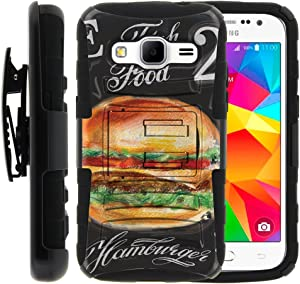 TurtleArmor | Compatible with Samsung Galaxy Core Prime Case | Prevail | Win 2 [Hyper Shock] Armor Hybrid Hard Shell Protector Stand Belt Clip Case Fit Rubber Food - Cheese Hamburger