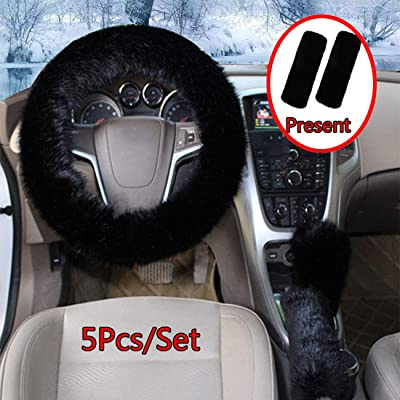 Cxtiy Fluffy Steering Wheel Cover 5 Pcs 1 Set with Handbrake Cover & Gear Shift Cover & Seat Belt Pads Soft and Warm for Car Steering Wheel Protector 15 inch (Black-5pcs): Automotive