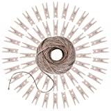 eBoot 164 Feet Twine with 50 Pieces Mini Wooden Craft Pegs Pins
