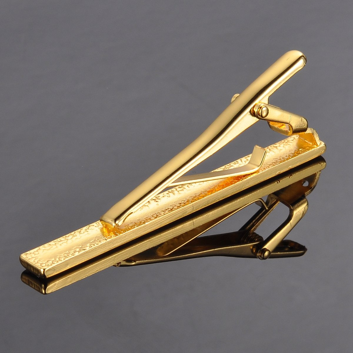 HooAMI Mens Fashion Metal Simple Necktie Tie Bar Clip 2 3/8'' Inch, Gold Plated by HooAMI (Image #2)