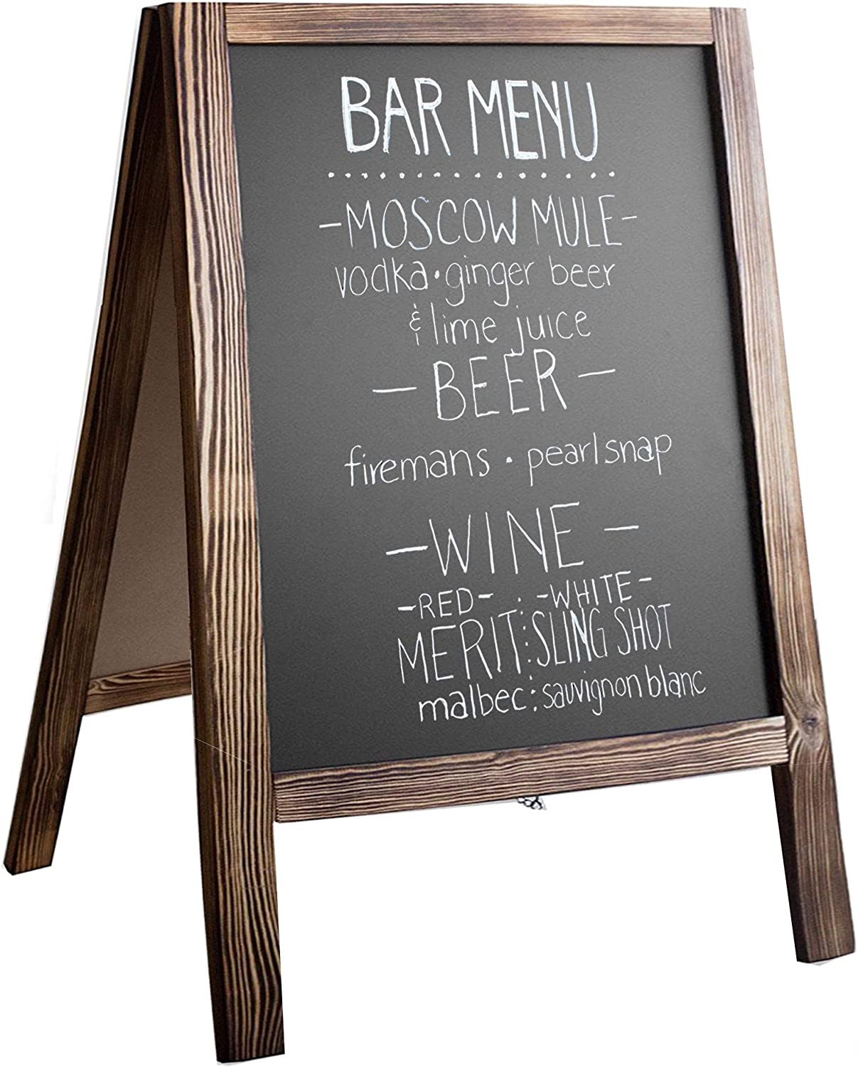 Amazon Com Wooden A Frame Sign With Eraser Chalk 21 X 30 Inches Magnetic Sidewalk Chalkboard Sturdy Freestanding Stained Wood Sandwich Board Menu Display For Restaurant Business Or Wedding Office Products
